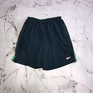 Nike Lined Challenger Running Shorts Blue and Green Size Large Dri-Fit